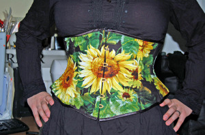 sunflower pattern underbust corset