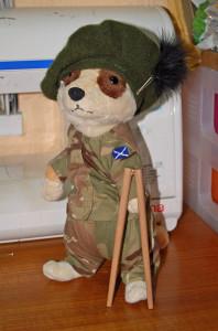 plush meerkat in army uniform